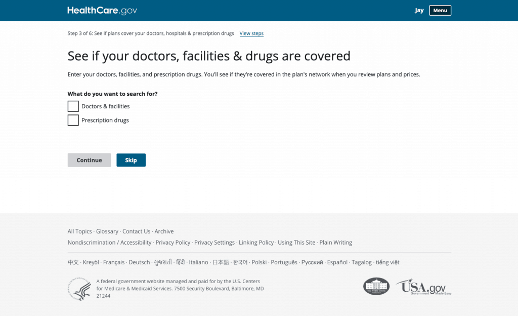 Checking Healthcare.gov for what your freelance health insurance covers