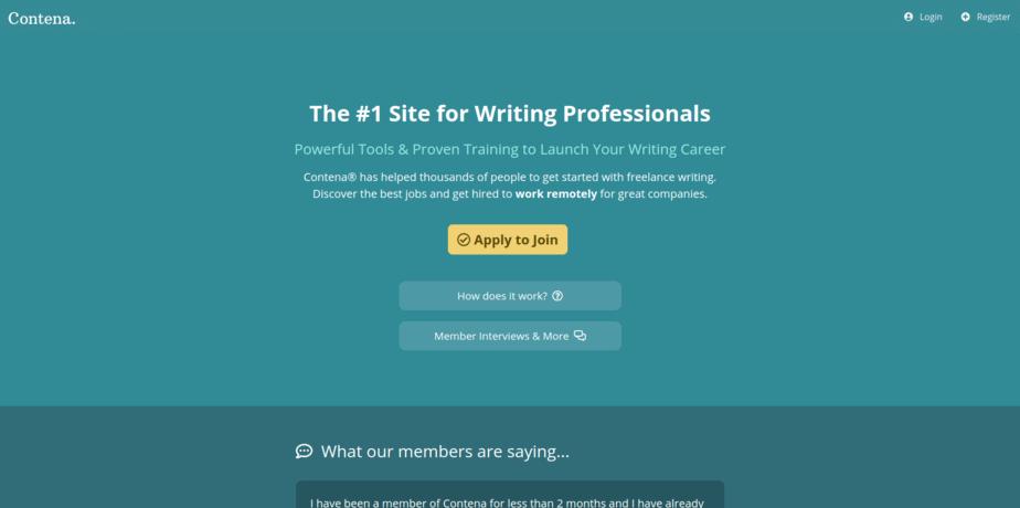 freelance copywriting jobs Contena homepage