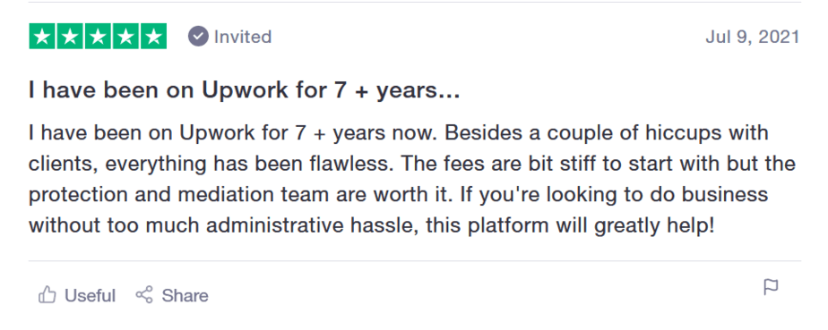 review of upwork positive