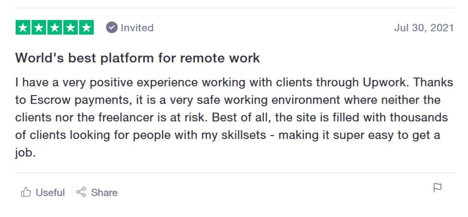 upwork reviews positive